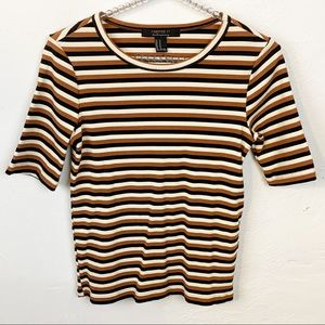 Forever 21 l Brown Striped Ribbed Short Sleeve